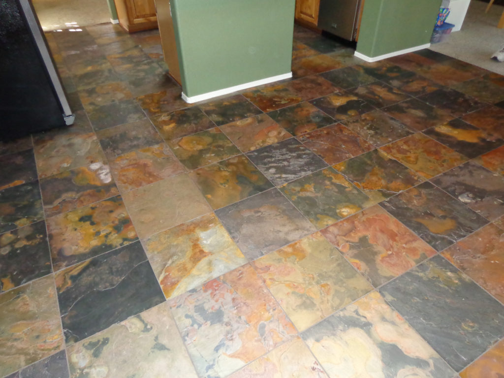 18x18 Slate Tile Kitchen Floor Tucson 1