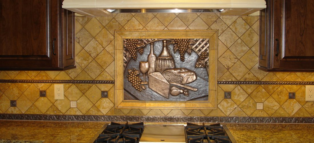 Bronze-tile-deco,-kitchen-backsplash,-tucson