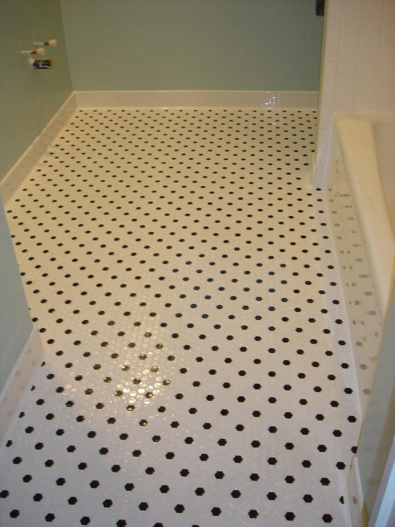 ... Octagon Black And White Tile_ Bathroom Floor_ Tucson ...