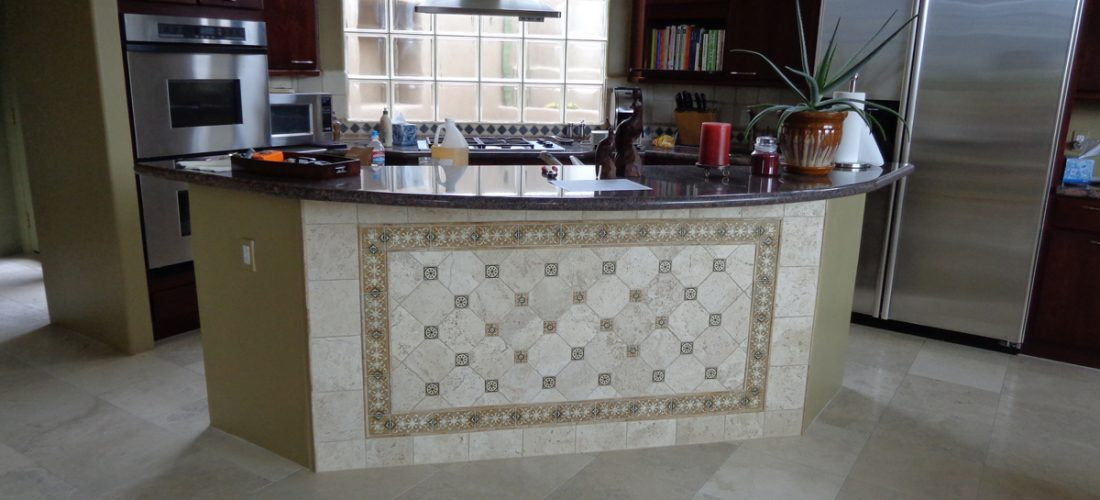 Travertine-deco-tile-on-bar-face,-tucson,