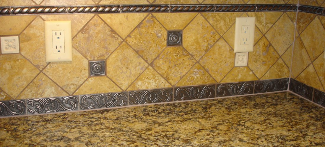 Travertine-tile-pattern,-6x6-diagonal,-metal-tile-accents-(1)