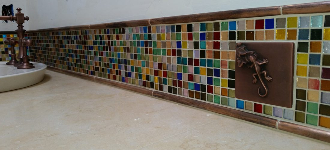 mosaic-glass-tile-backsplash,-metal-tile,-tucson