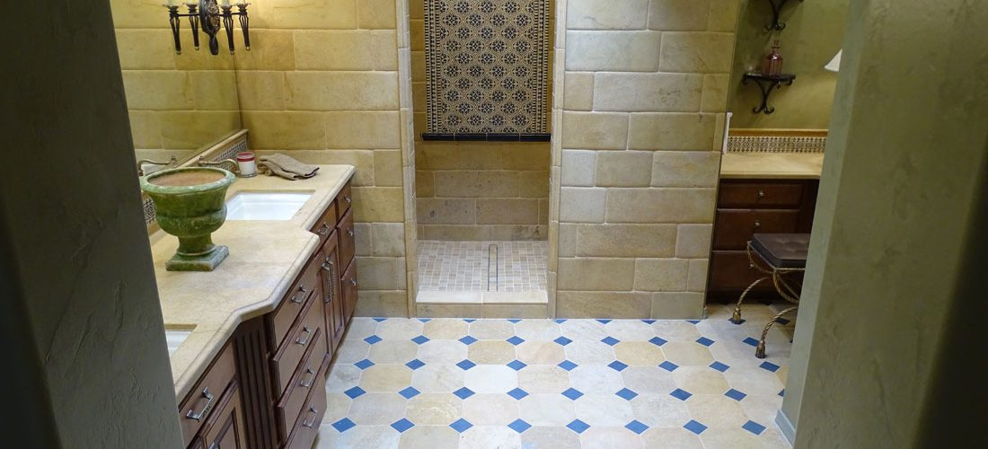 octagon-and-dot-tile-floor,-limestone-tile,-tucson